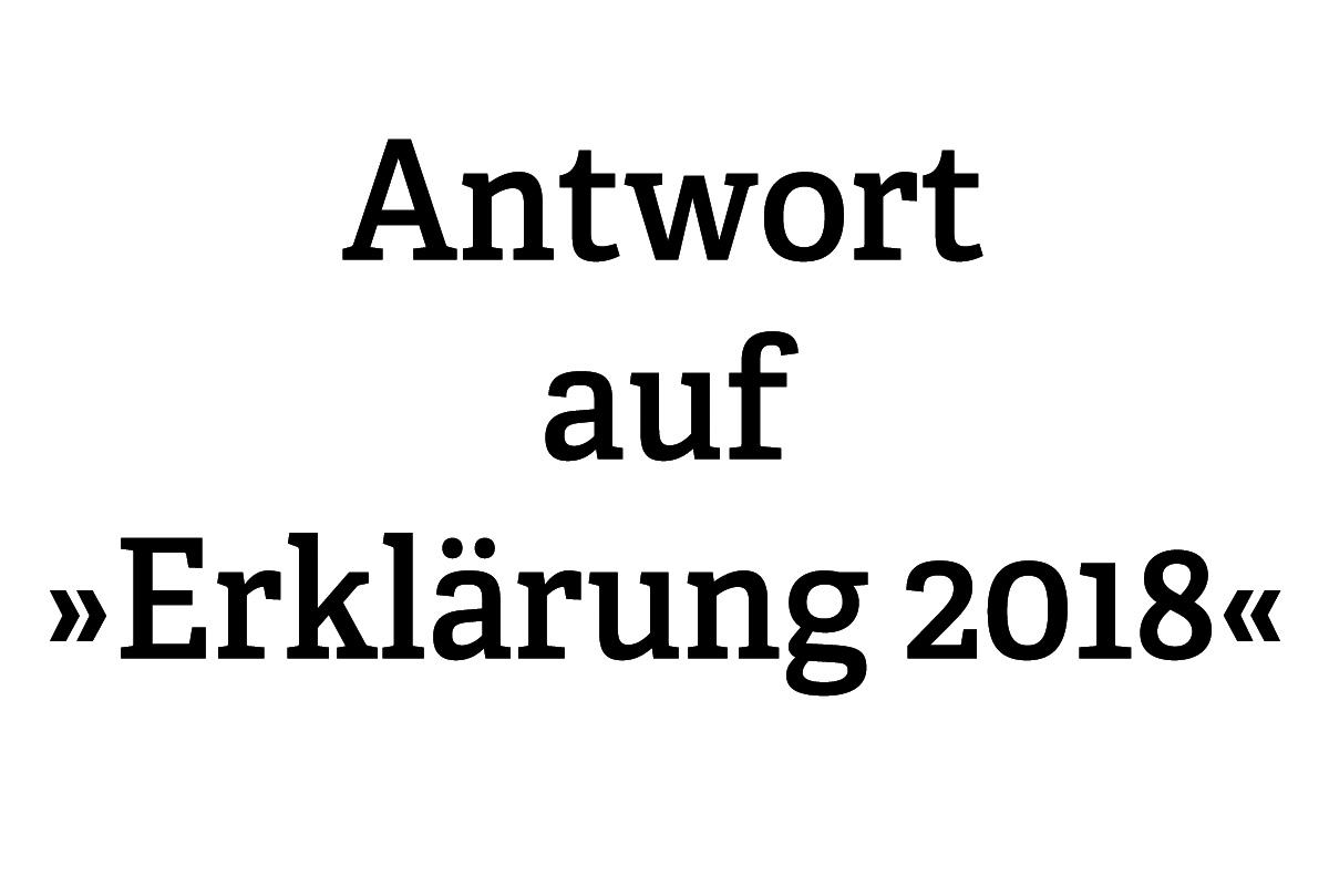 Antwort auf Erklärung 2018