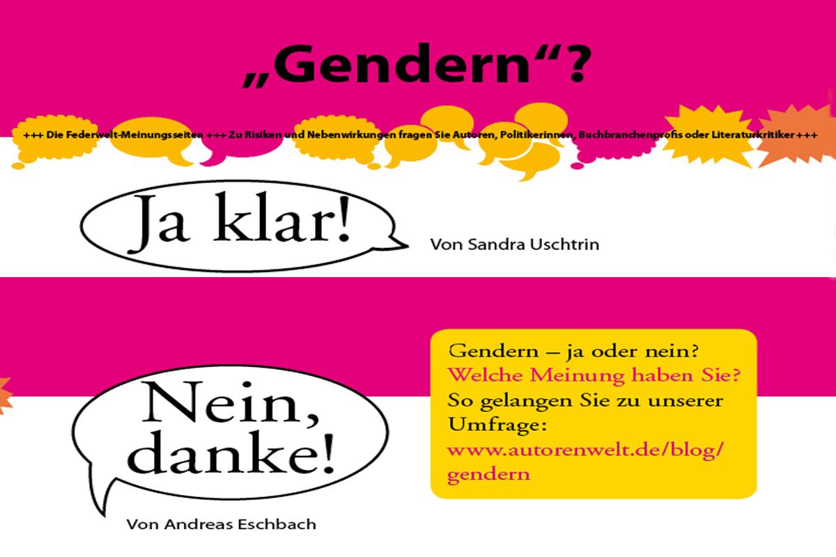 Illustration zur Gendern-Meinungsseite in der Federwelt vom April 2017