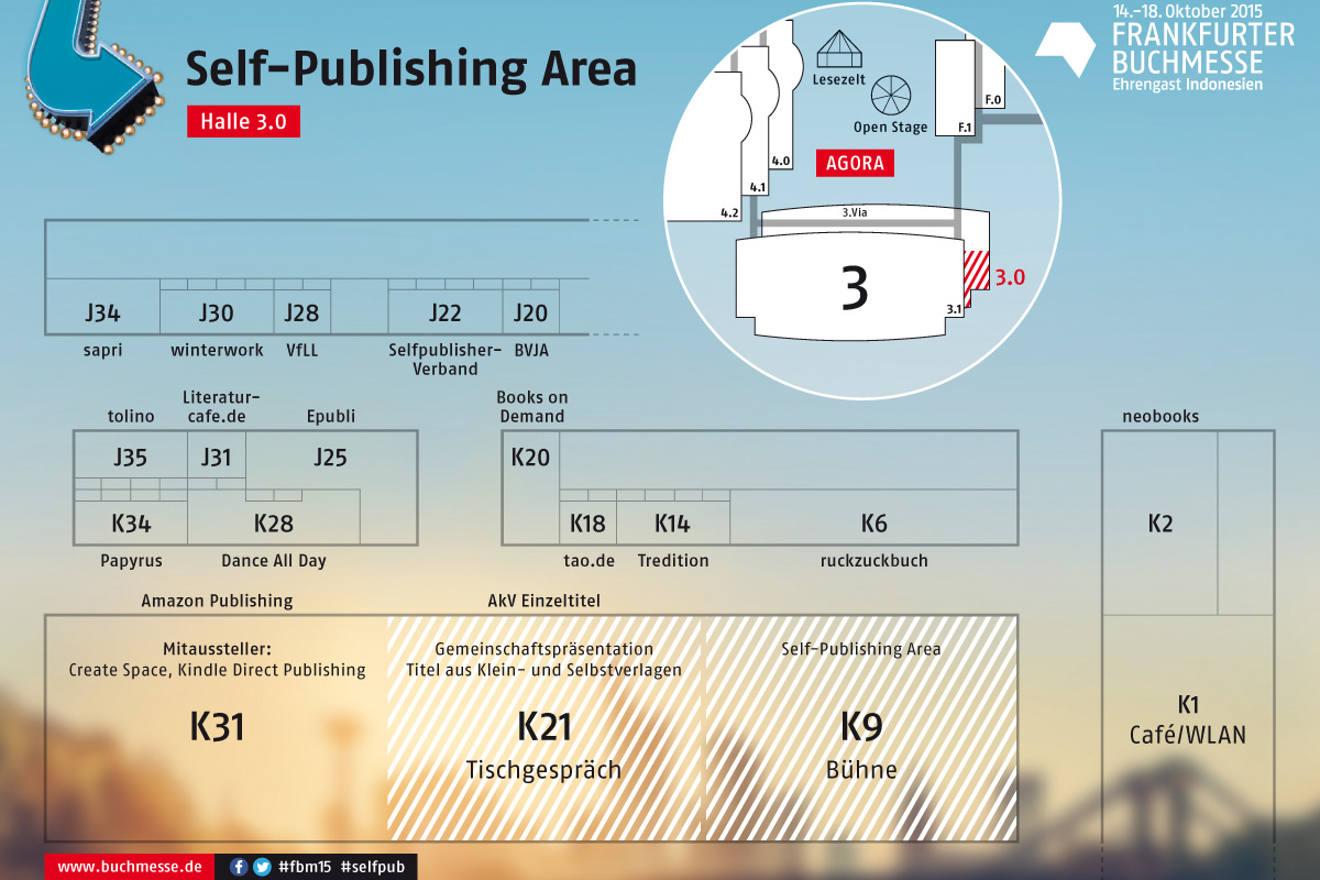 Hallenplan der Selfpublishing-Area auf der Frankfurter Buchmesse 2015