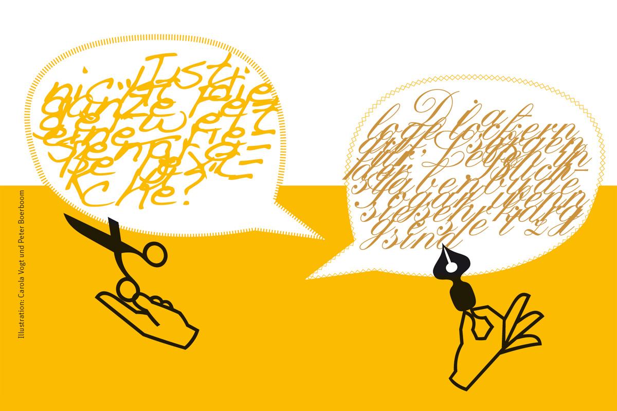Sprechblasen zum Thema Kunst des Dialogs