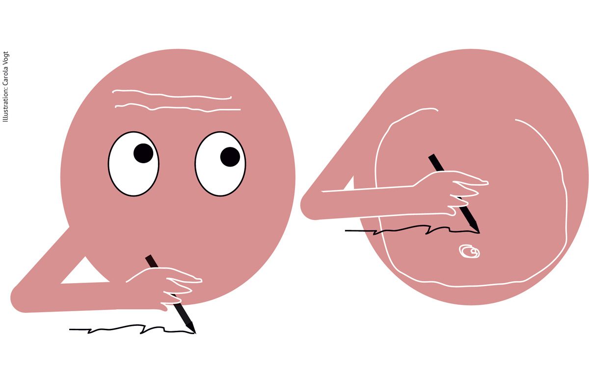 Kopfschreiber oder Bauchschreiber Illustration