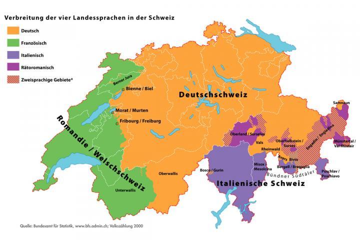 Karte von der Verbreitung der vier Landessprachen in der Schweiz