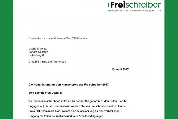 Freischreiber nominiert Sandra Uschtrin für den Himmelpreis 2017