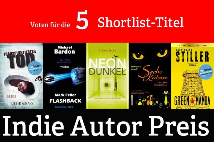 Fünf Cover der Shortlist-Titel des Indie Autor Preises 2018
