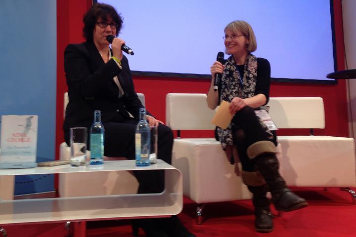 Nina George auf der Leipziger Buchmesse 2016 im Gespräch mit Anke Gasch von der Federwelt
