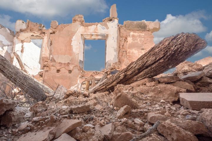 Vom Krieg zerstörtes Haus