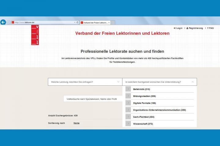 Bild mit Screenshot des Lektorenverzeichnisses