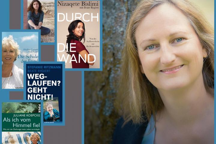 Das Bild zeigt Beate Rygiert und die Cover der von ihr geschriebenen Buchtitel
