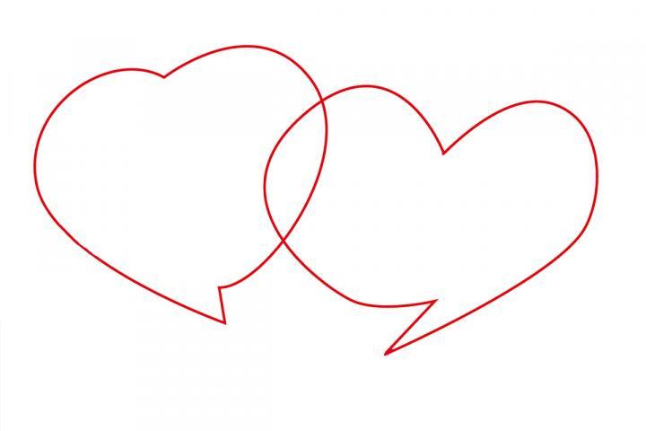 Zwei ineinander verschlungene Herzsprechblasen
