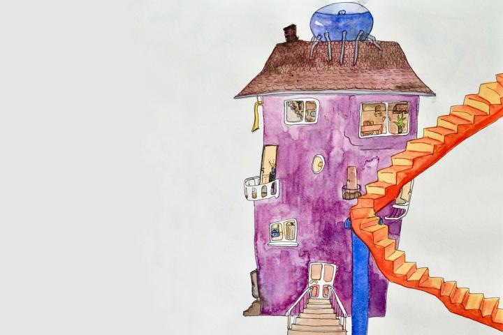 Illustration eines bunten Hauses mit langer Treppe von Gerstenberger