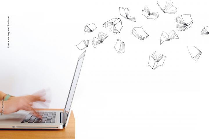 Schnelle Hand über einer Tastatur als Illustration für Vielschreiber