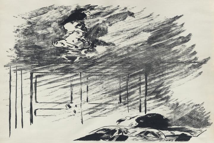 """Ausschnitt von einer Illustration von Édouard Manet für eine französische Übersetzung von Stéphane Mallarmé von Edgar Allan Poes """"The Raven"""""""